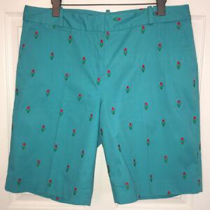 Talbots Turquoise Embroidered Tulips Stretch Flat Front Bermuda Shorts Sz 14 EUC