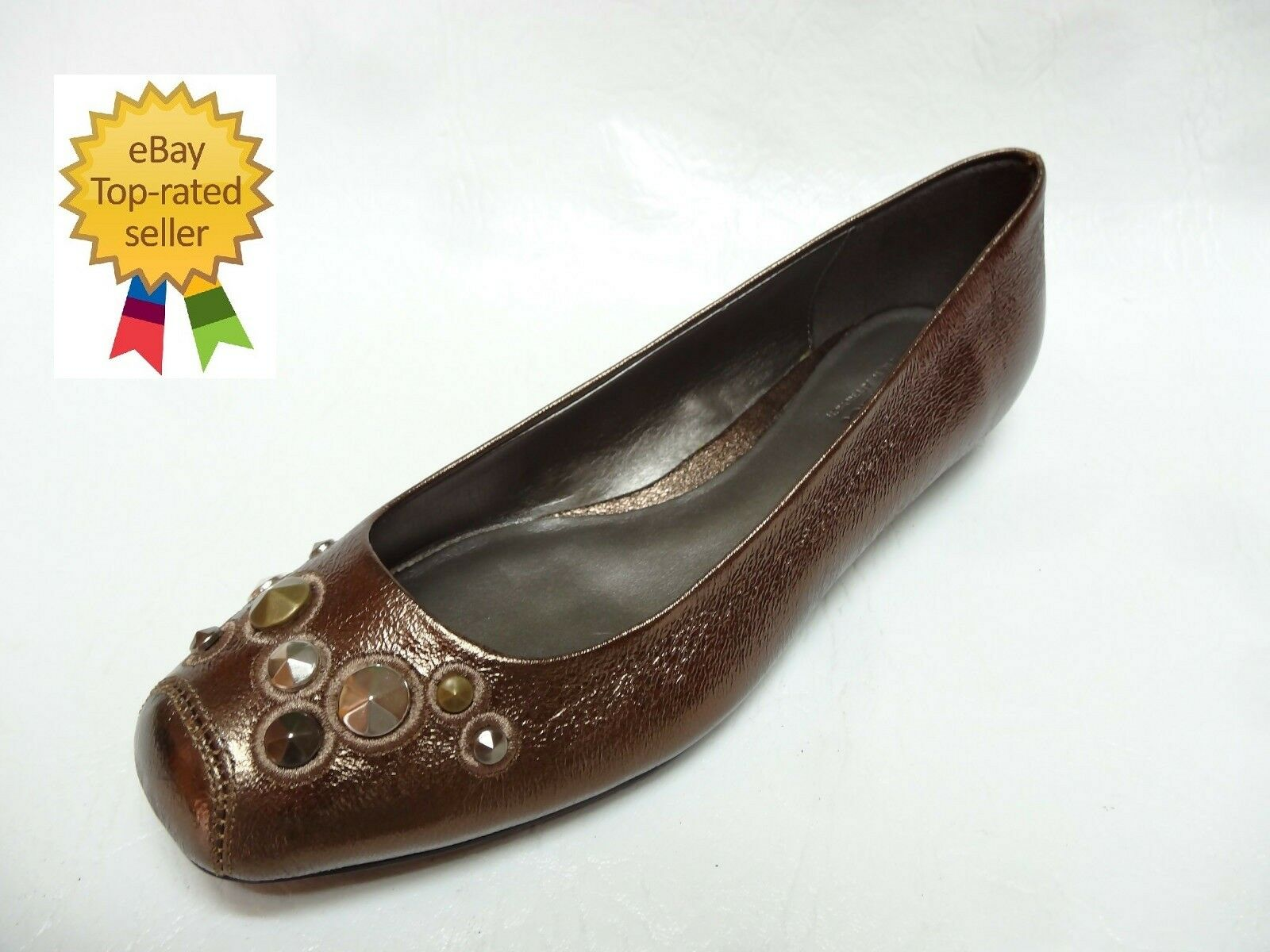 a n a womens CONNIE studded bronze brown business casual loafers shoes 7 NEW