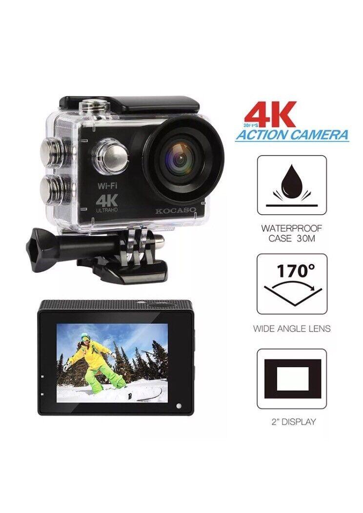 "KOCASO [4K Ultra HD] Sports 170° Ultra Wide-Angle Lens Action Camera. 2"" LCD"