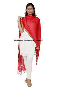 Indian-Traditional-Dupatta-Women-Silk-Chanderi-Solid-woven-zari-Scarf-Red-color