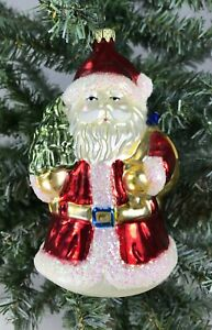 Santa-Claus-Christmas-Tree-Holiday-Ornament-Hand-Painted-Glass-5-034-Tall