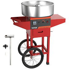 Red Sugar Floss Maker Carnival Commercial Electric Cotton Candy Machine With Cart