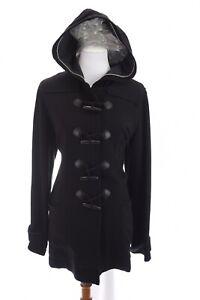 Coldwater Creek Womens Hooded Toggle Duffle Coat Black Sz Large 14 16