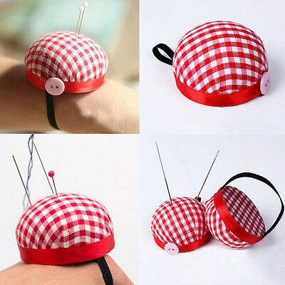 Red Plaid Grids Needle Sewing Pin Cushion Wrist Strap Tool Button Storage Holde