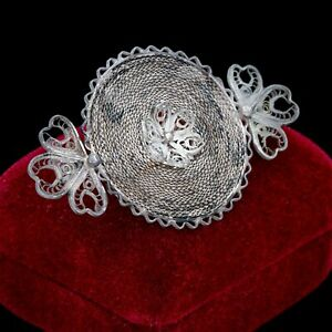 Antique-Vintage-Nouveau-925-Sterling-Silver-Filigree-Floral-Foliate-Pin-Brooch