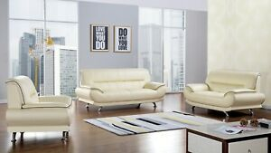 Details about 3 PC Ivory White Genuine Leather Sofa Loveseat Chair Living  room Set
