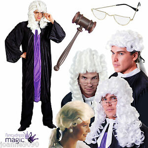 Adult-Judge-Fancy-Dress-Costume-Outfit-Barrister-Lawyer-Court-Prop-Accessory-Lot