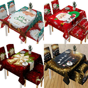 Christmas Tablecloth Table Cover Cloth Xmas Party Dining Room Kitchen Home Decor Ebay