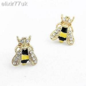 UK-NEW-GOLD-PLATED-BEE-ANIMAL-STUD-EARRINGS-CRYSTAL-BEES-EMO-EAR-STUDS-FREE-GIFT