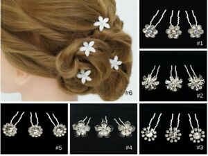 Image Is Loading 10pc Crystal Flower Bobby Hair Pins Wedding Updo