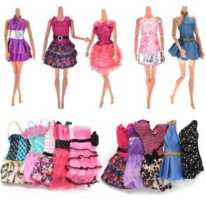 10Pcs-Fashion-Dresses-Clothes-Bundle-Set-for-Barbie-Doll-Casual-Party-Decor-UK