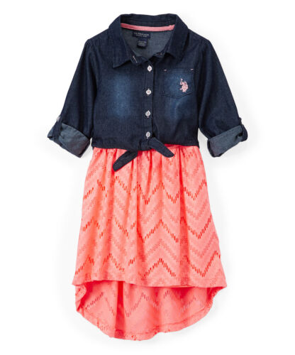 Girls/' Casual Dress NWT U.S or Vanilla Neon Coral Polo Assn Mint Apricot