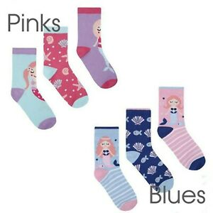 Girls-3-Pack-Cotton-Rich-Pattern-Ankle-Socks-Mermaid-2-Years-9-Years