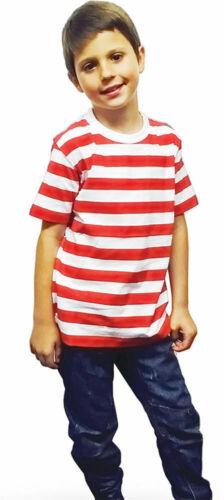 Neuf Enfants Rouge /& Blanc à rayures à manches courtes T-shirt pour enfants livre semaine Fancy Top