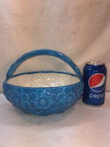 VTG-Ceramic-Art-Blue-Hippy-Flower-Daisy-Basket-Planter-Centerpiece-Vase-Bowl