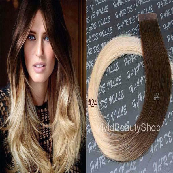 Ombre Remy Tape In Skin Weft Human Hair Extension Medium Brown Light