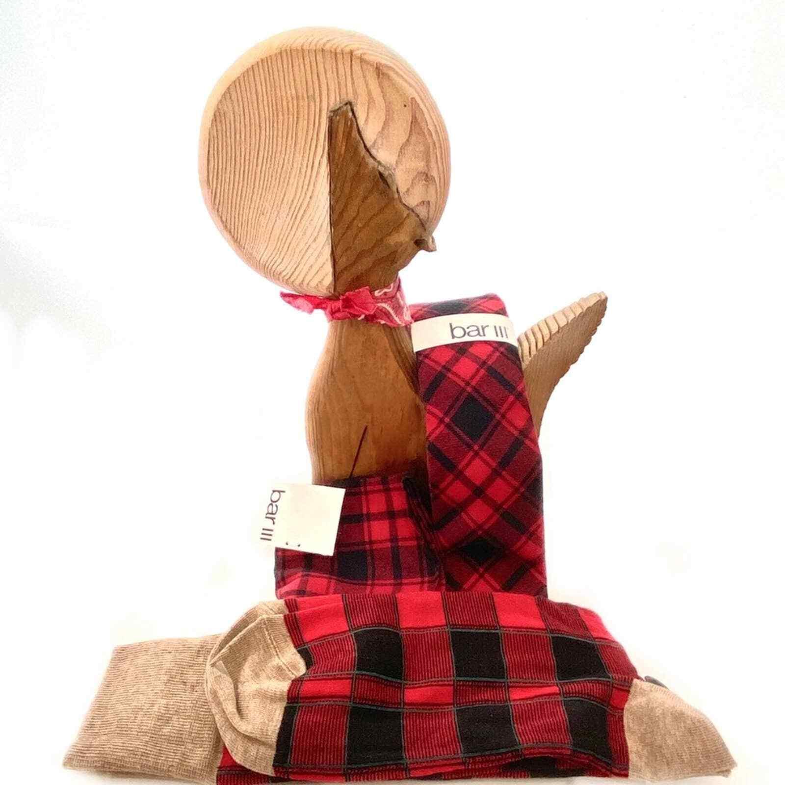 Macy's Men's Gift Bar III Buffalo Check Red Black Plaid Tie Pocket Square Socks
