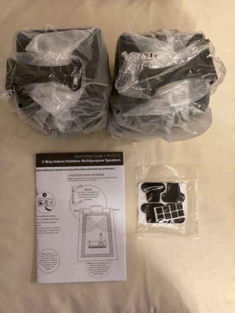 2-Way Indoor//Outdoor Speakers Black Pair Insignia Open-Box Excellent