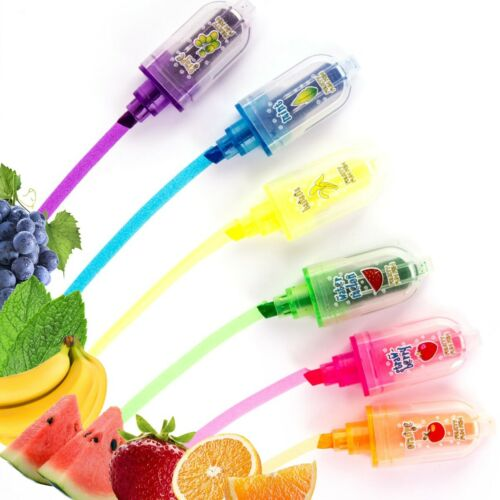 6x MINI SCENTED HIGHLIGHTER PENS Fruit Smelly Fun Bright Neon Marker Stationery