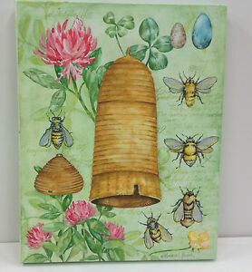 Honey-Bees-amp-Hive-Canvas-Stretched-on-Wood-Frame-Hanger-Screen-Printed-11-034-x-14-034