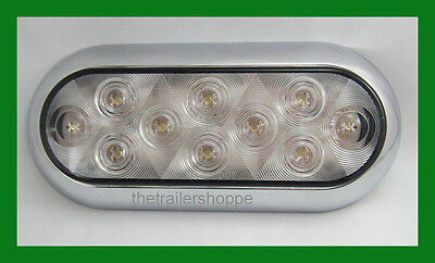 "10 LED 6"" Oval White Surface Mount Light Back up light Reverse Bezal"