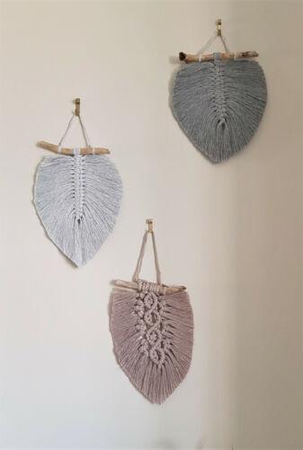 Macrame Feather Leaf Wall Hanging Boho Driftwood  decor cotton Handmade Set of 3