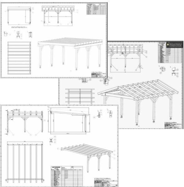 Baupläne Bauplan Carport Terrassendach Überdachung Wintergarten Bauanleitung