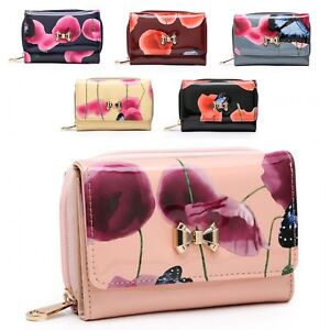 Ladies-Patent-Butterfly-Poppy-Purse-Girls-Floral-Coin-Wallet-Handbag-M095-325