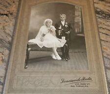 Antique Cab Card Girl & Boy First Holy Communion Denesavich Studio Old Forge PA