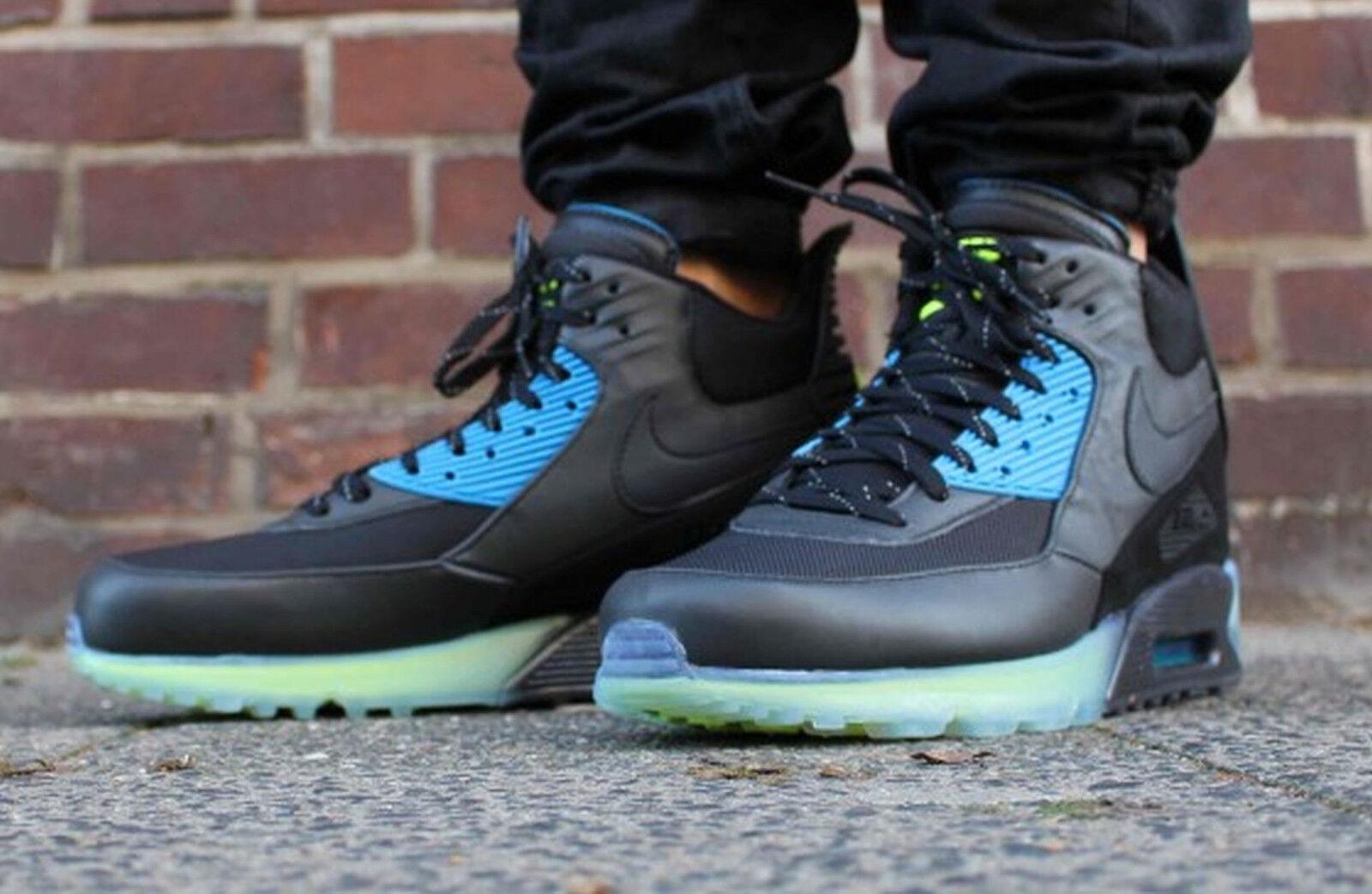 nike air max 90 sneakerboot eis 684722-001 sz 9 - schwarze asche blaue neon - 9 foto 7b9bcb