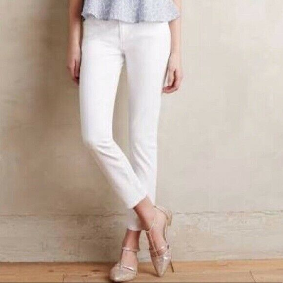AG Adriano goldschmied Stevie Slim Straight Ankle Jean in White, Size 28 Petite