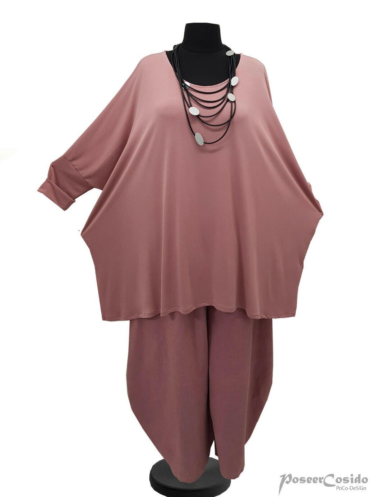 LAGENLOOK Tunika Long-Shirt OverGröße Rosa 44 46 48 50 52 54 56 58 L-XL-XXL-XXXL