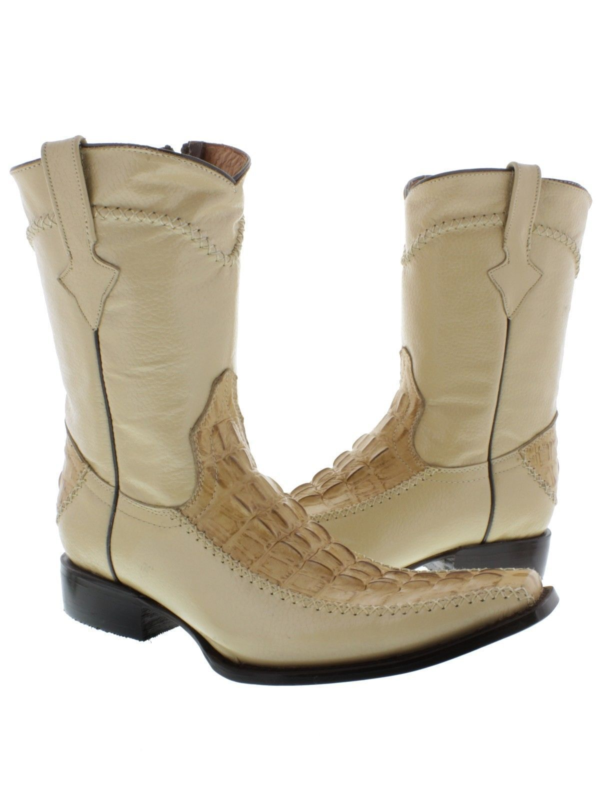 Mens Sand Crocodile Western Cowboy Boots Zipper Style Tail Cut Pattern Square