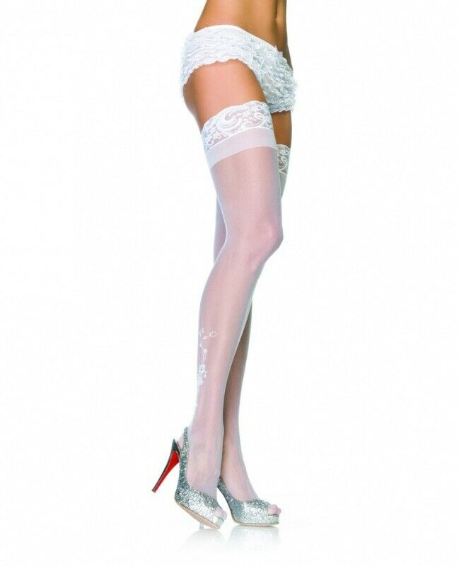 Leg Avenue Ivory Sheer Stay Up Thigh Highs with Floral Flocking & Rhinestone