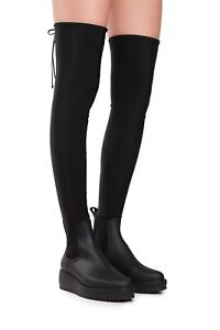 b63779116be Jeffrey Campbell Monsoon Over the Knee Platform Rain Boot Black Sz 7 ...