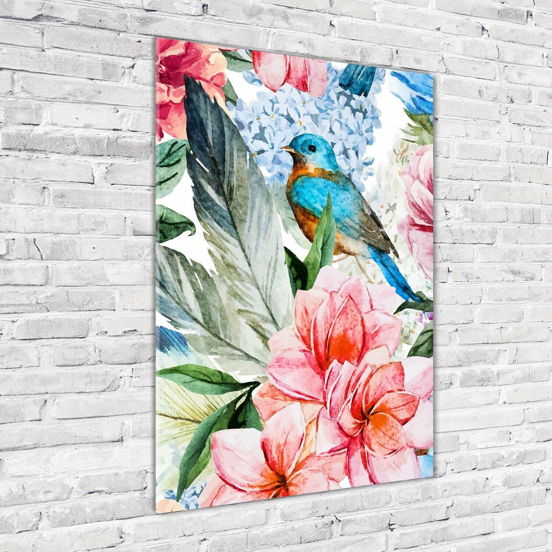 Wand-Bild Kunstdruck aus Hart-Glas Hochformat 70x100 Blaumen und Vögel