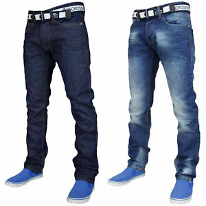 Mens-Straight-Leg-Jeans-Denim-Casual-Pants-Regular-Fit-Cotton-Trouser-Free-Belt