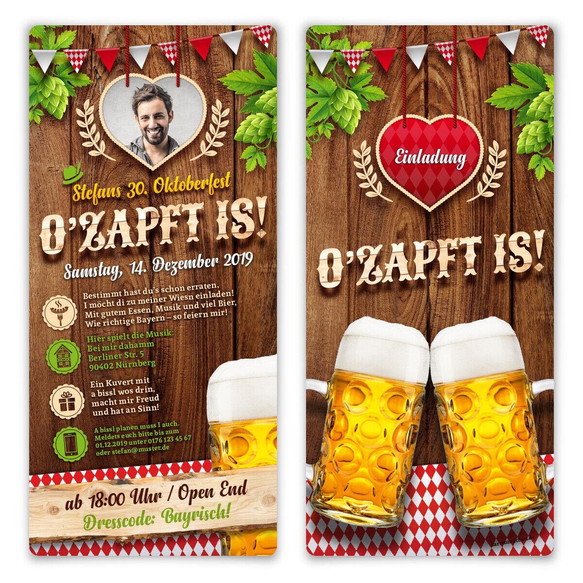 EInladungskarten Geburtstag Oktoberfest individuell O'zapft is  in Rot mit Foto
