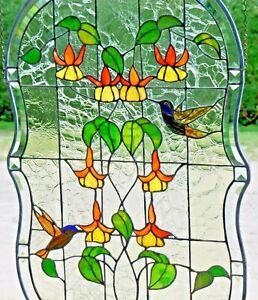 Bleiverglasung-Fensterbild-Kolibri-Medaillon-mit-Echt-Antikglas-in-Tiffany