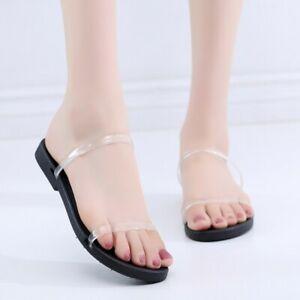 Details about Women Transparent Open Toe Slipper Flat Sandals Slingbacks Causal Beach Shoes