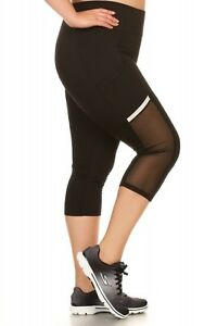 Capri Sportlegging.Plus Capri Sport Legging With Mesh Pocket Side Panels And Reflection