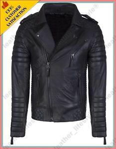 Mens Black Genuine Leather Jacket Real Lambskin Slim Fit Biker Style Retro S-3XL