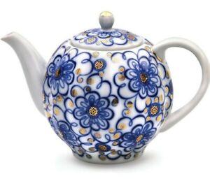 Bluebells TEAPOT w// Blue Floral Pattern by Imperial Porcelain Lomonosov LFZ IFZ