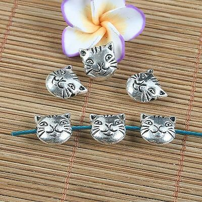 12pcs antiqued silver two sides cat spacer beads G1235