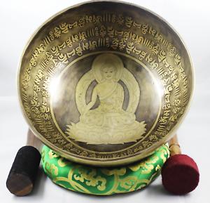 NHZ10  Inside Buddha Art with Mantra Craved,Om Mandala, Meditation Singing Bowl