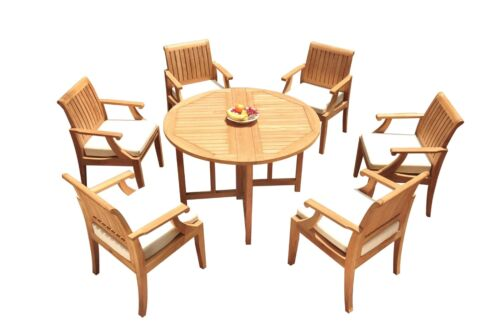 """DSLG A-Grade Teak 7pc Dining Set 48"""" Round Butterfly Table 6 Arm Chairs Outdoor"""