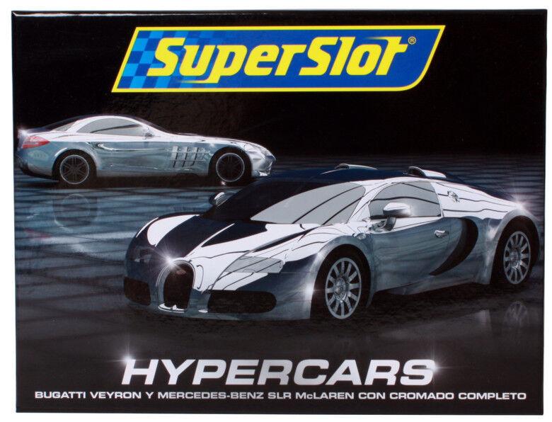 SUPERSLOT H3169 Hyper Cars Set - Chrome Mercedes SLR & Bugatti Nuovo 1 32 New