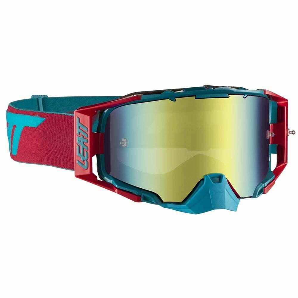 Leatt 2019 Velocity 6.5 Iriz Tear Off Goggles with Bronze Lens - rouge  Teal