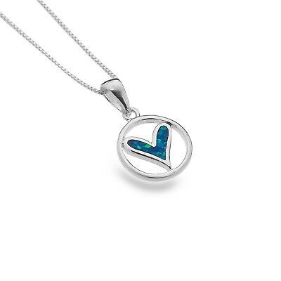 Beliebte Marke Blue Opal Heart Pendant Sterling Silver 925 Hallmarked All Chain Lengths