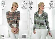 King Cole Ladies Raglan Jackets Drifter Knitting Pattern 4251 DK KCP-4251